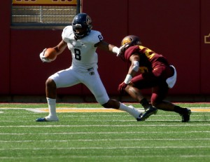 September 19, 2015: Kent State Golden Flash wide receiver Charles Chandler (8) Runs for a first downs during the game between the Kent State Golden Flash and the University of Minnesota Gophers at TCF Bank Stadium in Minneapolis,Minnesota.September 17, 2015: University of Minnesota Gopher fullback Jeremy Seaton (44) during the game between the Kent State Golden Flash and the University of Minnesota Gophers at TCF Bank Stadium in Minneapolis,Minnesota.