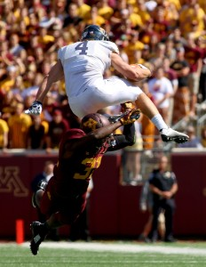 September 19, 2015: Kent State Golden Flash running back Nick Holley (8) jump in the third quarter during the game between the Kent State Golden Flash and the University of Minnesota Gophers at TCF Bank Stadium in Minneapolis,Minnesota.September 17, 2015: University of Minnesota Gopher fullback Jeremy Seaton (44) during the game between the Kent State Golden Flash and the University of Minnesota Gophers at TCF Bank Stadium in Minneapolis,Minnesota.