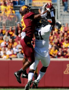 September 19, 2015: Kent State Golden Flash defensive back Demetrius Monday (21) intercepts the pass in the first half in the game between the Kent State Golden Flash and the University of Minnesota Gophers at TCF Bank Stadium in Minneapolis,Minnesota.September 17, 2015: University of Minnesota Gopher fullback Jeremy Seaton (44) during the game between the Kent State Golden Flash and the University of Minnesota Gophers at TCF Bank Stadium in Minneapolis,Minnesota.