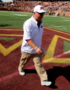 September 19, 2015: University of Minnesota Gopher Head Coach Jerry Kill walks off field after the game between the Kent State Golden Flash and the University of Minnesota Gophers at TCF Bank Stadium in Minneapolis,Minnesota.September 17, 2015: University of Minnesota Gopher fullback Jeremy Seaton (44) during the game between the Kent State Golden Flash and the University of Minnesota Gophers at TCF Bank Stadium in Minneapolis,Minnesota.
