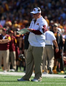 September 19, 2015: University of Minnesota Gopher Head Coach Jerry Kill checks his play sheet during the game between the Kent State Golden Flash and the University of Minnesota Gophers at TCF Bank Stadium in Minneapolis,Minnesota.September 17, 2015: University of Minnesota Gopher fullback Jeremy Seaton (44) during the game between the Kent State Golden Flash and the University of Minnesota Gophers at TCF Bank Stadium in Minneapolis,Minnesota.