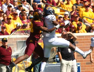 September 19, 2015: Kent State Golden Flash defensive back Demetrius Monday (21) intercepts his second pass in the second half in the game between the Kent State Golden Flash and the University of Minnesota Gophers at TCF Bank Stadium in Minneapolis,Minnesota.September 17, 2015: University of Minnesota Gopher fullback Jeremy Seaton (44) during the game between the Kent State Golden Flash and the University of Minnesota Gophers at TCF Bank Stadium in Minneapolis,Minnesota.