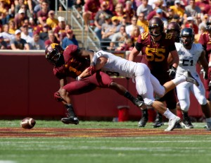 September 19, 2015: University of Minnesota Gopher wide receiver KJ Maye (1) fumbles the ball in the game between the Kent State Golden Flash and the University of Minnesota Gophers at TCF Bank Stadium in Minneapolis,Minnesota.September 17, 2015: University of Minnesota Gopher fullback Jeremy Seaton (44) during the game between the Kent State Golden Flash and the University of Minnesota Gophers at TCF Bank Stadium in Minneapolis,Minnesota.
