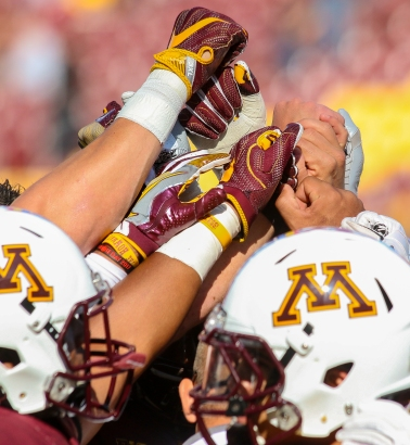 SEPTEMBER 30 2017:P.J. Fleck becomes the first Gophers coach to start his career 3-0 since Murray Warmath in 1954.Gophers win 34-3 over the Raiders of Middle Tennessee State at TCF Bank Stadium,Minneapolis Minnesota